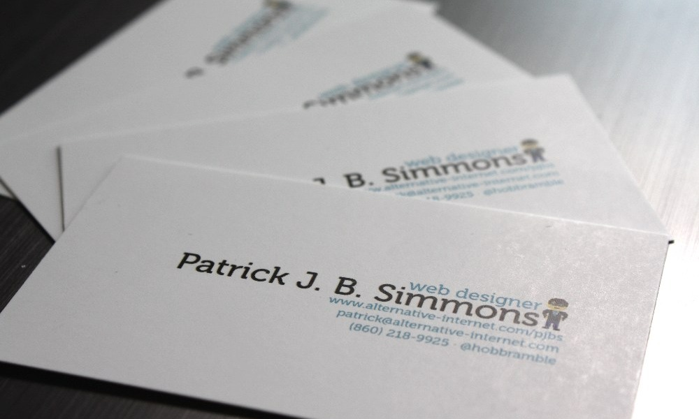 Patrick J B Simmons My Work April 2012 Personal Business Cards