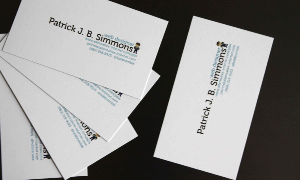 Patrick j b simmons my work april 2012 personal business cards i was initially unsure about including my twitter handle on my cards but as some folks these days use twitter as one of their primary forms if not their colourmoves